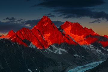 ! Alpenglow over Aiguille du Chardonnet above the Glacier d'Argentiere, French Alps