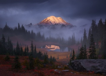 ! Mount Rainier from Tipsoo Lake at sunrise in autumn by alex noriega